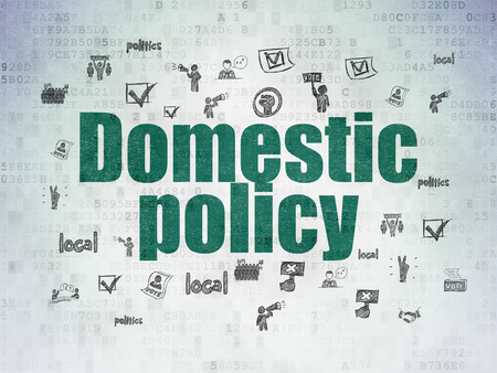 domestic policy: Political concept: Painted green text Domestic Policy on Digital Paper background with  Hand Drawn Politics Icons