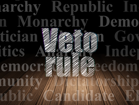 veto: Political concept: Glowing text Veto Rule in grunge dark room with Wooden Floor, black background with  Tag Cloud