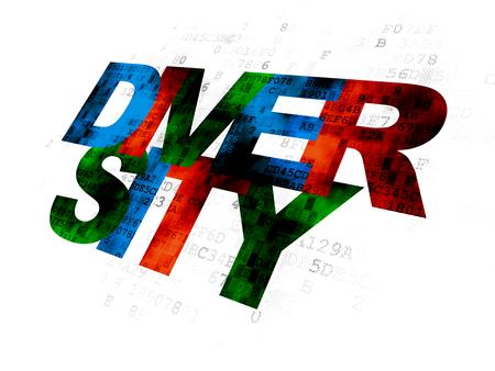 diversidad: Concepto de negocio: Diversidad texto multicolor Pixelated en el fondo digital