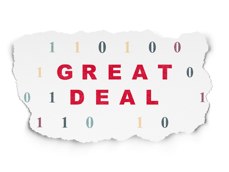 great deal: Finance concept: Painted red text Great Deal on Torn Paper background with  Binary Code