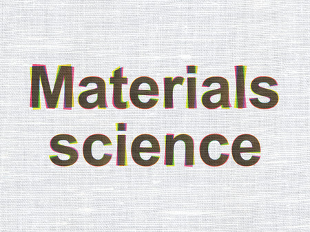 science text: Science concept: CMYK Materials Science on linen fabric texture background