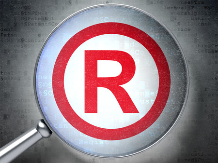 r regulation: Law concept: magnifying optical glass with Registered icon on digital background