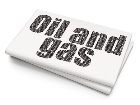 urgent announcement: Industry concept: Pixelated black text Oil and Gas on Blank Newspaper background