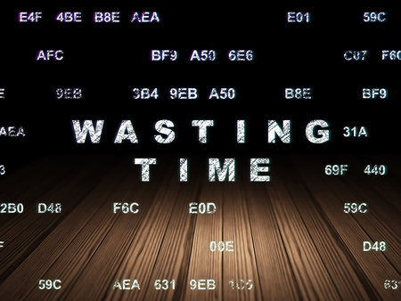 wasting: Time concept: Glowing text Wasting Time in grunge dark room with Wooden Floor, black background with Hexadecimal Code Stock Photo