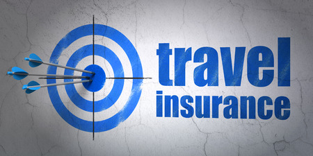 hitting a wall: Success Insurance concept: arrows hitting the center of target, Blue Travel Insurance on wall background Stock Photo