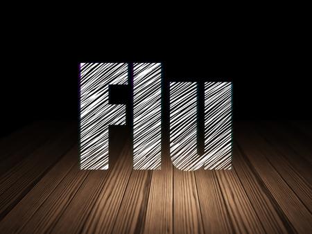 flu: Health concept: Glowing text Flu in grunge dark room with Wooden Floor, black background Stock Photo