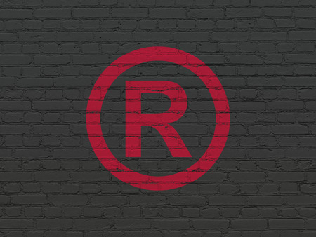 r regulation: Law concept: Painted red Registered icon on Black Brick wall background