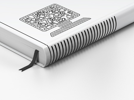 closed book: Education concept: closed book with Black Computer Pc icon on floor, white background, 3d render