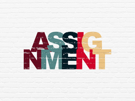 assignment: Law concept: Painted multicolor text Assignment on White Brick wall background
