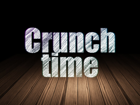 crunch: Business concept: Glowing text Crunch Time in grunge dark room with Wooden Floor, black background
