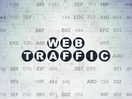 web traffic: Web development concept: Painted black text Web Traffic on Digital Paper background with Hexadecimal Code Stock Photo