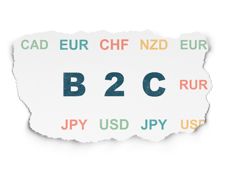 b2c: Finance concept: Painted blue text B2c on Torn Paper background with  Currency