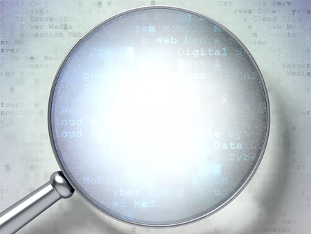 magnification: Technology concept: magnification glass over digital background, 3D render