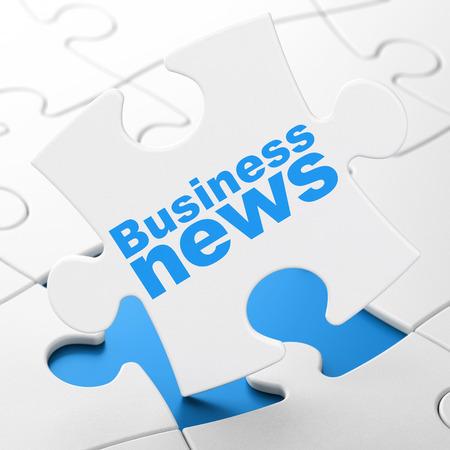 financial concept: News concept: Business News on White puzzle pieces background, 3d render