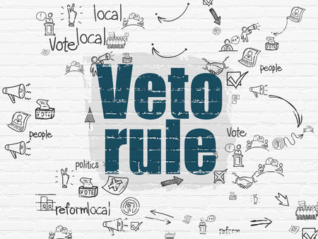 veto: Politics concept: Painted blue text Veto Rule on White Brick wall background with Scheme Of Hand Drawn Politics Icons