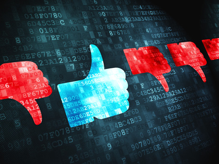 digital background: Social network concept: pixelated Thumb Up, Down icon on digital background Stock Photo