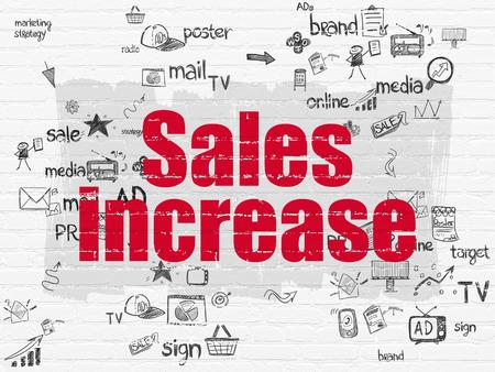 incremento: Concepto de publicidad: pintado de rojo Aumentar el texto de ventas en el fondo blanco de la pared de ladrillo con los iconos de Marketing Esquema de mano dibuja