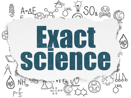 exact science: Science concept: Painted blue text Exact Science on Torn Paper background with  Hand Drawn Science Icons