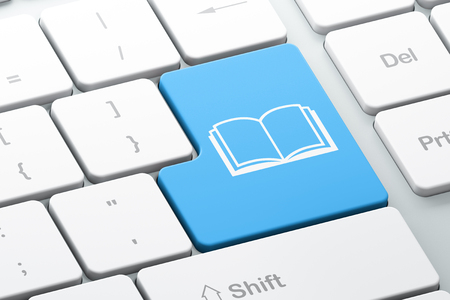 business book: Learning concept: Enter button with Book on computer keyboard background, 3d render