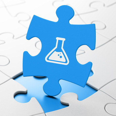 a solution tube: Science concept: Flask on Blue puzzle pieces background, 3d render Stock Photo