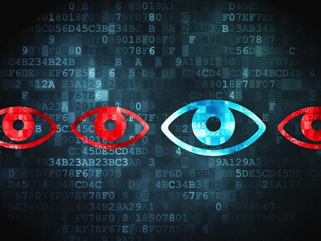digital background: Security concept: pixelated Eye icon on digital background Stock Photo