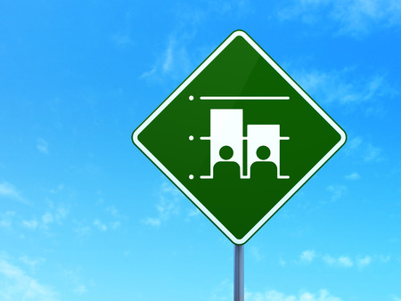 dictatorship: Political concept: Election on green road (highway) sign, clear blue sky background, 3d render