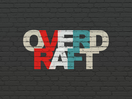 overdraft: Finance concept: Painted multicolor text Overdraft on Black Brick wall background