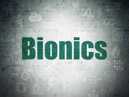bionics: Science concept: Painted green text Bionics on Digital Paper background with  Scheme Of Hand Drawn Science Icons