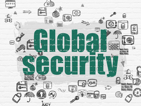 global security: Safety concept: Painted green text Global Security on White Brick wall background with Scheme Of Hand Drawn Security Icons Stock Photo