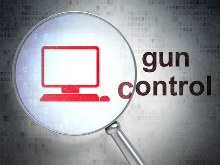 gun control: Safety concept: magnifying optical glass with Computer Pc icon and Gun Control word on digital background Stock Photo