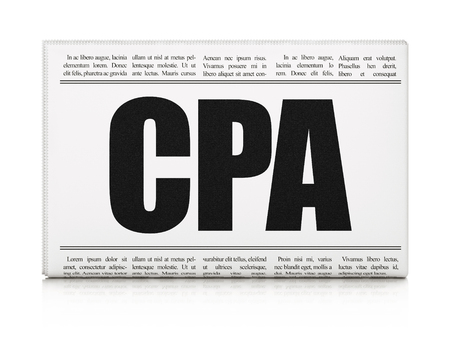 cpa: Finance concept: newspaper headline CPA on White background, 3d render Stock Photo