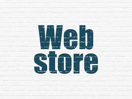 web store: Web design concept: Painted blue text Web Store on White Brick wall background Archivio Fotografico