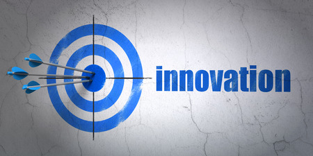 business innovation: Success business concept: arrows hitting the center of target, Blue Innovation on wall background