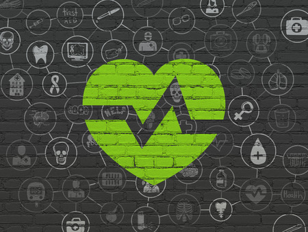 medical drawing: Healthcare concept: Painted green Heart icon on Black Brick wall background with Scheme Of Hand Drawn Medicine Icons
