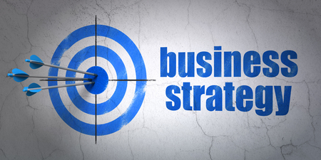 hitting a wall: Success finance concept: arrows hitting the center of target, Blue Business Strategy on wall background