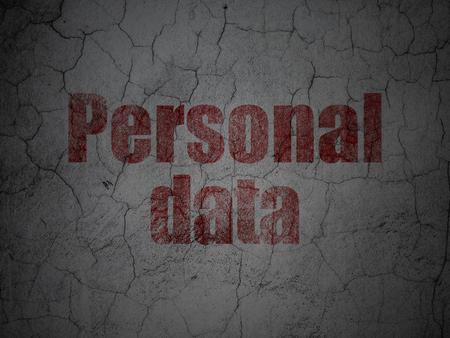 datos personales: Concepto de datos: Red de Datos Personales en el grunge con textura de fondo muro de hormigón