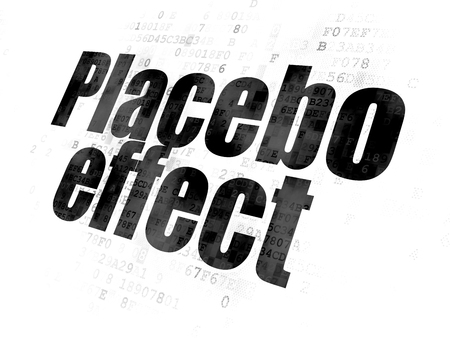 placebo: Healthcare concept: Pixelated black text Placebo Effect on Digital background Stock Photo