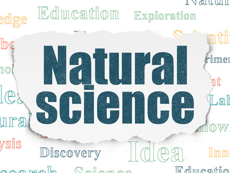 natural science: Science concept: Painted blue text Natural Science on Torn Paper background with  Tag Cloud
