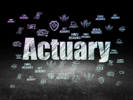 actuary: Insurance concept: Glowing text Actuary,  Hand Drawn Insurance Icons in grunge dark room with Dirty Floor, black background