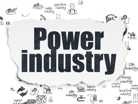power industry: Manufacuring concept: Painted black text Power Industry on Torn Paper background with Scheme Of Hand Drawn Industry Icons