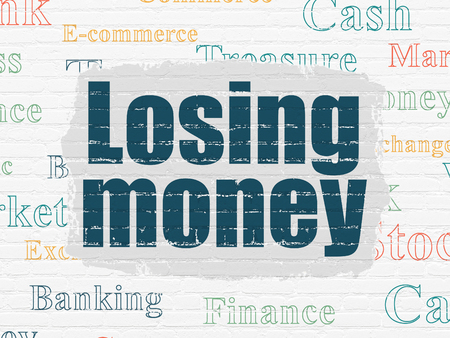losing money: Money concept: Painted blue text Losing Money on White Brick wall background with  Tag Cloud Stock Photo