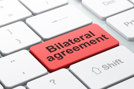 bilateral: Insurance concept: computer keyboard with word Bilateral Agreement, selected focus on enter button background, 3d render