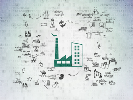 Manufacuring concept: Painted green Industry Building icon on Digital Paper background with Scheme Of Hand Drawn Industry Icons