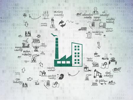 Manufacuring concepto: verde pintado del icono de Industria de la Construcción en el fondo de papel digital con iconos de la industria Esquema de mano dibuja Foto de archivo