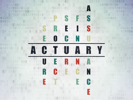 actuary: Insurance concept: Painted black word Actuary in solving Crossword Puzzle on Digital Paper background