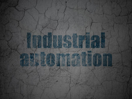industrial automation: Industry concept: Blue Industrial Automation on grunge textured concrete wall background