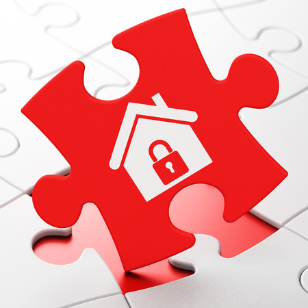 brainteaser: Finance concept: Home on Red puzzle pieces background, 3d render Stock Photo