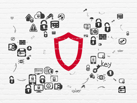 security: Security concept: Painted red Contoured Shield icon on White Brick wall background with Scheme Of Hand Drawn Security Icons Stock Photo