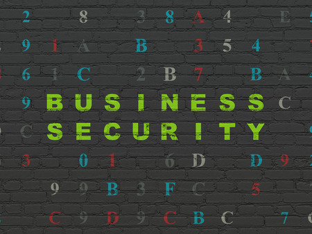 hexadecimal: Safety concept: Painted green text Business Security on Black Brick wall background with Hexadecimal Code