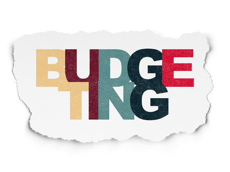 budgeting: Finance concept: Painted multicolor text Budgeting on Torn Paper background